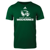 Adidas Dark Green Logo T Shirt-Utah Valley Wolverines Logo