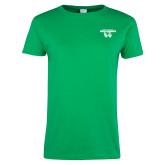 Ladies Kelly Green T Shirt-Secondary Logo