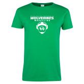 Ladies Kelly Green T Shirt-Wolverine Wrestling