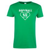 Ladies Kelly Green T Shirt-Wolverine Softball
