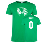 Ladies Kelly Green T Shirt-Primary Logo, Custom Tee w/ Name and #