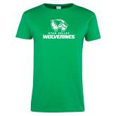 Ladies Kelly Green T Shirt-Utah Valley Wolverines Logo