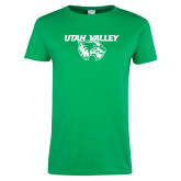 Ladies Kelly Green T Shirt-Utah Valley Logo
