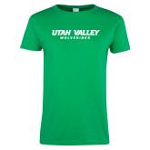 Ladies Kelly Green T Shirt-Utah Valley Word Mark