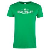 Ladies Kelly Green T Shirt-Utah Valley Since 1941