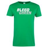 Ladies Kelly Green T Shirt-Bleed Green