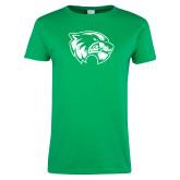 Ladies Kelly Green T Shirt-Wolverine Logo Distressed