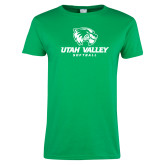 Ladies Kelly Green T Shirt-Softball