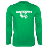 Performance Kelly Green Longsleeve Shirt-Secondary Logo