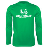 Performance Kelly Green Longsleeve Shirt-Utah Valley University