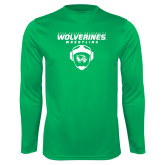 Performance Kelly Green Longsleeve Shirt-Wolverine Wrestling