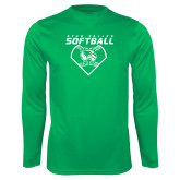 Performance Kelly Green Longsleeve Shirt-Wolverine Softball