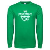 Kelly Green Long Sleeve T Shirt-Wolverines Basketball