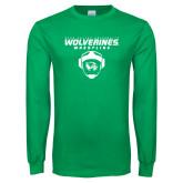 Kelly Green Long Sleeve T Shirt-Wolverine Wrestling