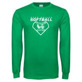 Kelly Green Long Sleeve T Shirt-Wolverine Softball