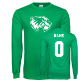 Kelly Green Long Sleeve T Shirt-Primary Logo, Custom Tee w/ Name and #