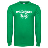Kelly Green Long Sleeve T Shirt-Secondary Logo