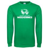 Kelly Green Long Sleeve T Shirt-Utah Valley Wolverines Logo