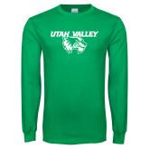 Kelly Green Long Sleeve T Shirt-Utah Valley Logo