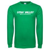 Kelly Green Long Sleeve T Shirt-Utah Valley Word Mark