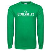 Kelly Green Long Sleeve T Shirt-Utah Valley Since 1941
