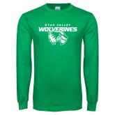 Kelly Green Long Sleeve T Shirt-UVU Wolverines Distressed