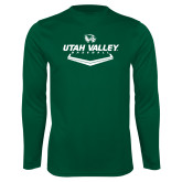 Performance Dark Green Longsleeve Shirt-Wolverines Baseball
