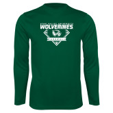 Performance Dark Green Longsleeve Shirt-UVU Baseball