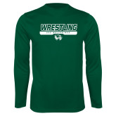 Performance Dark Green Longsleeve Shirt-UVU Wrestling