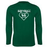 Performance Dark Green Longsleeve Shirt-Wolverine Softball