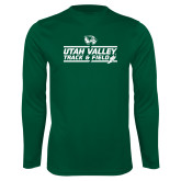 Performance Dark Green Longsleeve Shirt-Wolverines Track & Field