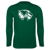 Performance Dark Green Longsleeve Shirt-Primary Logo