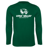 Performance Dark Green Longsleeve Shirt-Utah Valley University