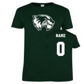 Ladies Dark Green T Shirt-Primary Logo, Custom Tee w/ Name and #