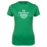Ladies Syntrel Performance Kelly Green Tee-Wolverines Basketball