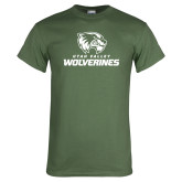 Military Green T Shirt-Utah Valley Wolverines Logo