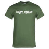 Military Green T Shirt-Utah Valley Word Mark