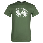 Military Green T Shirt-Wolverine Logo Distressed