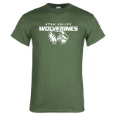 Military Green T Shirt-UVU Wolverines Distressed