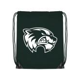 Dark Green Drawstring Backpack-Primary Logo