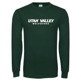Dark Green Long Sleeve T Shirt-Utah Valley Word Mark