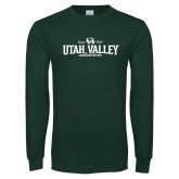 Dark Green Long Sleeve T Shirt-Utah Valley Since 1941