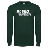 Dark Green Long Sleeve T Shirt-Bleed Green