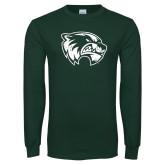 Dark Green Long Sleeve T Shirt-Wolverine Logo Distressed