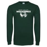 Dark Green Long Sleeve T Shirt-UVU Wolverines Distressed