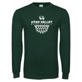 Dark Green Long Sleeve T Shirt-Wolverines Basketball