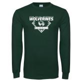 Dark Green Long Sleeve T Shirt-UVU Baseball