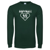 Dark Green Long Sleeve T Shirt-Wolverine Softball
