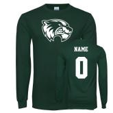 Dark Green Long Sleeve T Shirt-Primary Logo, Custom Tee w/ Name and #