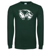 Dark Green Long Sleeve T Shirt-Primary Logo